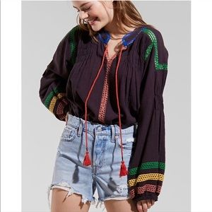 Urban outfitters boho black crotchet peasant top